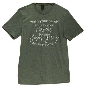 #L49XL, Wash Your Hands T-Shirt - Dark Green, Extra Large