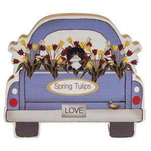 Spring Tulips Chunky Truck w/Cat #35292A