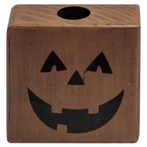 Jack O'Lantern Block Taper Holder #35382