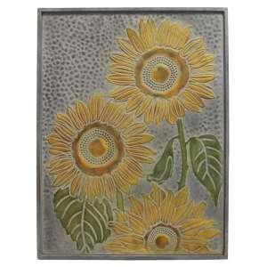 Hammered & Embossed Metal Sunflower Plaque #70068