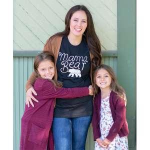 #L68XXL Mama Bear T-Shirt, Heather Black, XXL