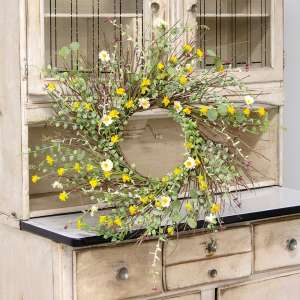 "Yellow Wildflowers Wreath, 22"" #17916"