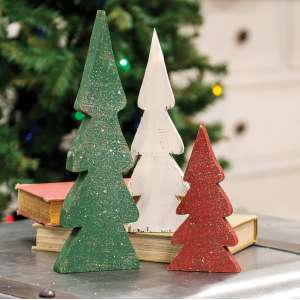 #35207 Distressed Wooden Christmas Color Trees, 3/Set