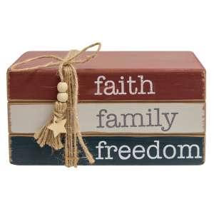 Faith Family Freedom Wooden Bookstack #35480