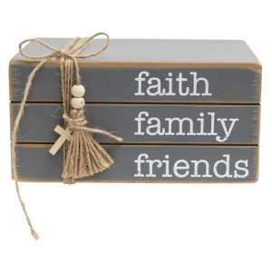 Faith Family Friends Wooden Bookstack #35481