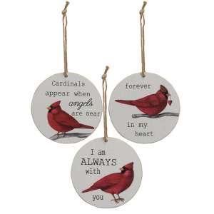 Cardinal Sentiment Ornaments, 3 Asstd. #35575