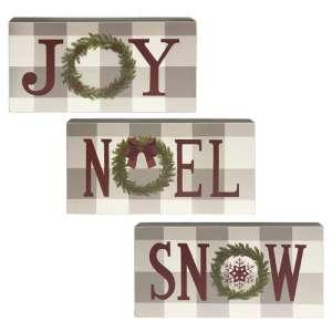 Joy, Noel, Snow Box Sign, 3 Asstd. #35578