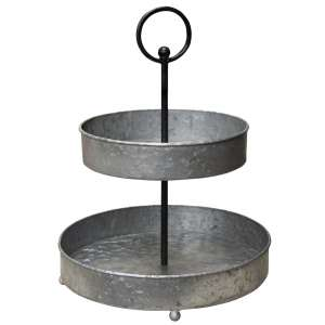 Distressed Two-Tiered Metal Tray #65165