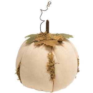 "Mossy White Stuffed Pumpkin 9"" CS38020"