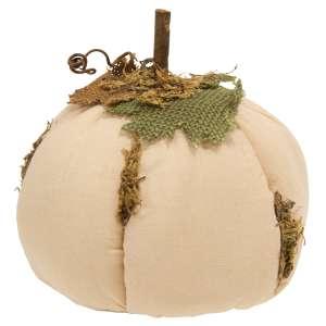 "Mossy White Stuffed Pumpkin 6"" CS38022"