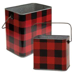 2/Set, Red & Black Buffalo Check Canisters w/Handles #14580-AB