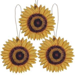 3/Set, Wooden Sunflower Ornaments #35374