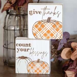 Give Thanks Plaid Pumpkin Block, 2 Asstd. 35538