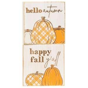 Hello Autumn Plaid Pumpkin Block, 2 Asstd. 35539