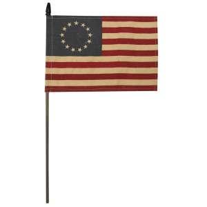 """Teastained Betsy Ross Flag Pick, 18"""" (10.5"""" x 6.75"""" flag) #CS38211"""