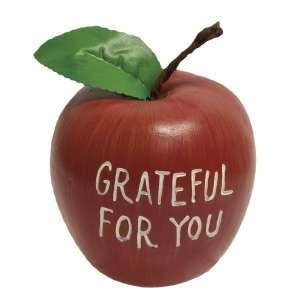 Grateful For You Engraved Wooden Apple #13164