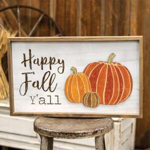 Happy Fall Y'all Distressed Wooden Frame 35523