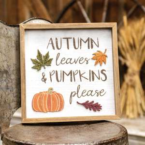 Autumn Leaves & Pumpkins Please Distressed Wooden Frame 35525
