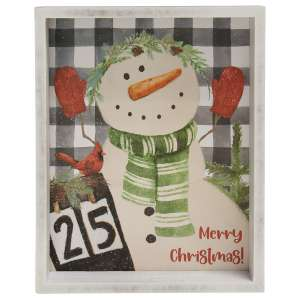 Merry Christmas Snowman Inset Box Sign #35589