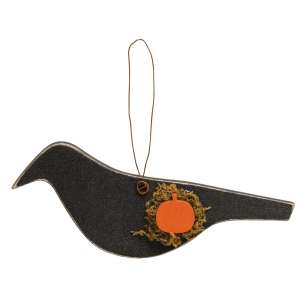 Crow With Pumpkin Wooden Ornament #35690
