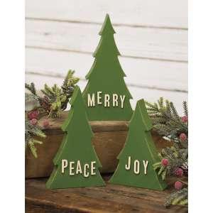3/Set, Joy Merry & Peace Wooden Trees #35701