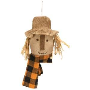Scarecrow Head Hanger with Buffalo Check Scarf #CS38247