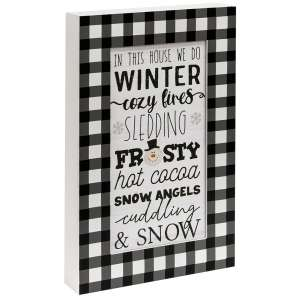 In This House We Do Winter Buffalo Check Layered Box Sign #35583