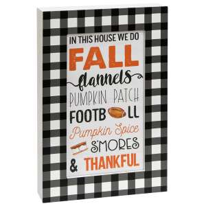 In This House We Do Fall Buffalo Check Layered Box Sign #35600