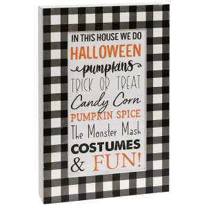 In This House We Do Halloween Buffalo Check Layered Box Sign #35601