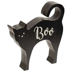 Boo Cat Chunky Wood Sitter #35684
