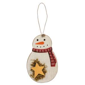 Roly Poly Wooden Snowman Ornament w/star #35700