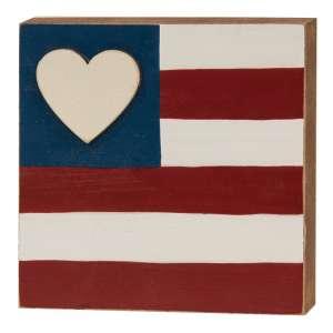 Heart Flag Square Block #35834