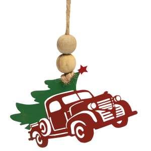 Cutout Metal Vintage Truck & Tree Ornament #70087