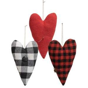 3/Set, Felt Primitive Heart Pillow Ornaments #CS38297