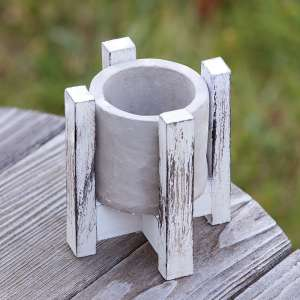 """Cement Planter w/ Distressed Wood Stand, 5"""" QX18128"""