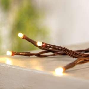 LED Battery Timer Lights, Brown Cord, 35 Lights M620523