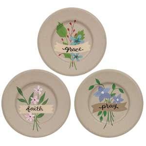 Faith Pray Grace Flower Plates, 3 Asstd. #35779
