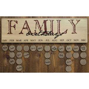 {[en]:Birthdays Calendar - FAMILY - Burgundy Only