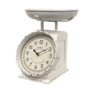 {[en]:Rustic White Decorative Scale with Clock