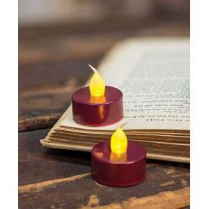 {[en]:Burgundy LED Tealights - 2pk -