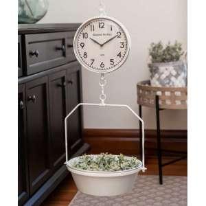{[en]:White Vintage Hanging Decorative Scale w/Clock -