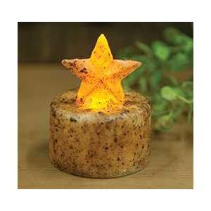 Burnt Ivory Star Timer Tealight - # 84236