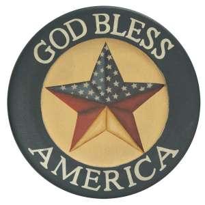 {[en]:God Bless America Wooden Plate -