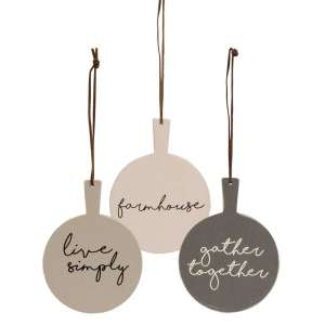 Farmhouse Cutting Board Ornaments, 3 asst.- # 34510