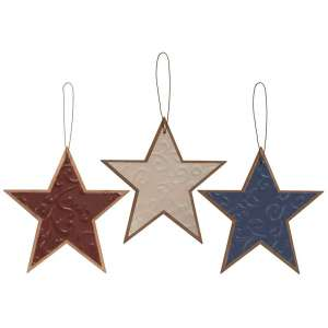 {[en]:Embossed Metal Star Ornament, 3 asst.